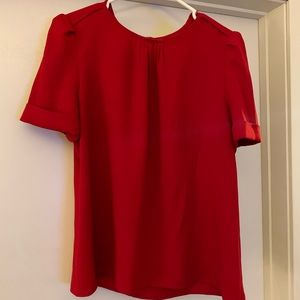 Zara Short Sleeved Red Blouse
